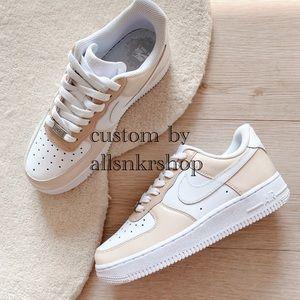 Nike womens air force 1 low custom biege cream